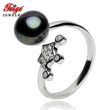 Imperial crown Shaped Pearl Rings For Women's, 8-9mm Black Freshwater Pearls,100% 925 Sterling Silver Rings, Pearl jewelry цена 2017