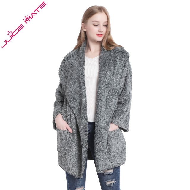 5ae8669e26 Women Warm Cardigans Teddy Fleece Poncho Capes Plus Size Sweaters Long  Sleeve Poncho Shrug Outerwear Kimono Cardigans For Women