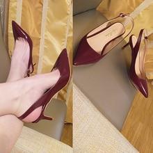 onlymaker Women's summer  Pointed Toe High  heel  6.5cm  Slingback Ankle Strap Kitten Heels Stiletto Pumps plus US15 grommet pointed toe slingback stiletto heel pumps