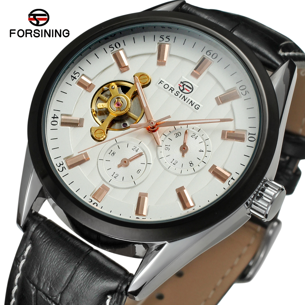 FSG293M3T1 new arrival Automatic men's wrist watch with black genuine leather strap gift box free shipping whole sale price цена