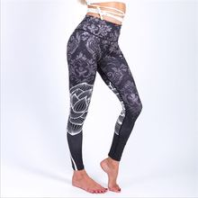 купить 2018 Women Digital Printed Yoga Leggings Mid Waist Clouds Printed Artists Shape Skinny Elastic Pants Workout Sports Leggings по цене 682.4 рублей