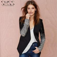 The new PU leather stitching embroidered sequined V -neck Slim motorcycle jacket suit female