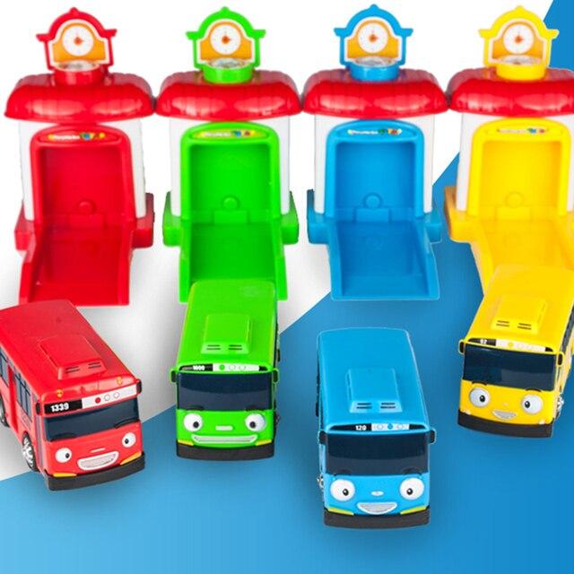 4pcs/set Scale model the little bus children miniature bus mini plastic baby  garage bus chirstmas gift
