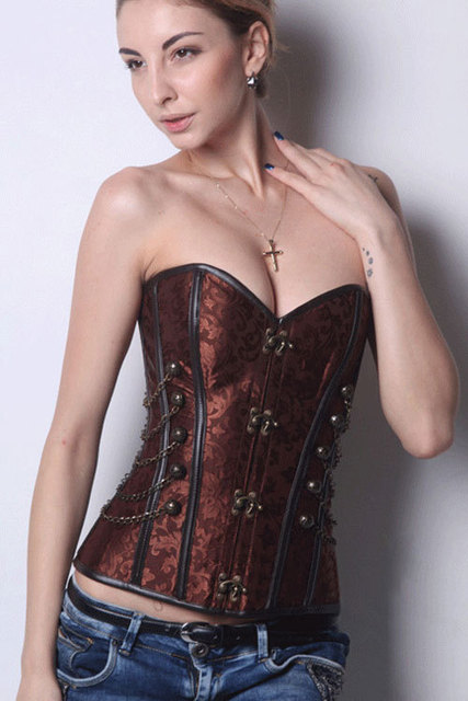 Twins Girl 2017 new women sexy lingerie NEW Sexy Brown Steampunk Boned Corset with Chain Stud Detail  LC5332