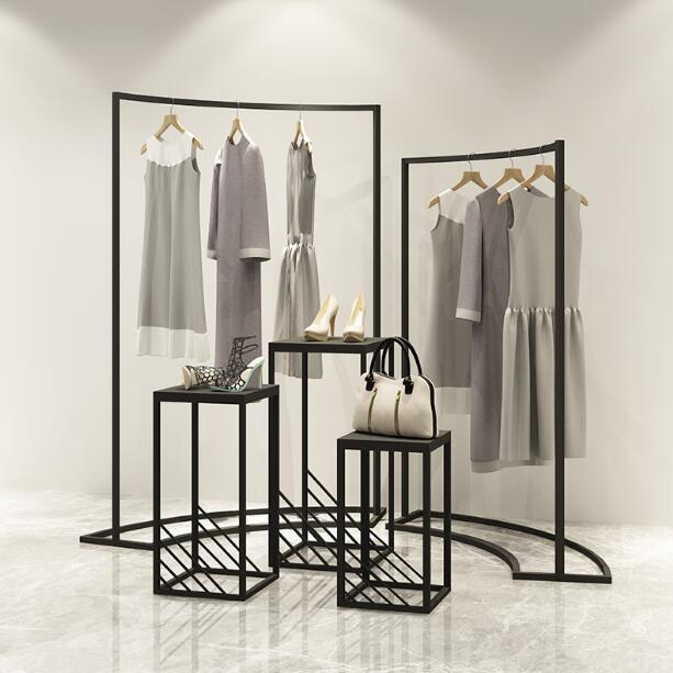 Clothing store display rack in the island display cabinet women 39 s shop horizontal bar iron art in Storage Holders amp Racks from Home amp Garden