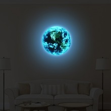 New 1PCS Luminous blue earth Cartoon DIY 3d Wall Stickers for kids rooms bedroom wall sticker Home decor Living Room Hot sale