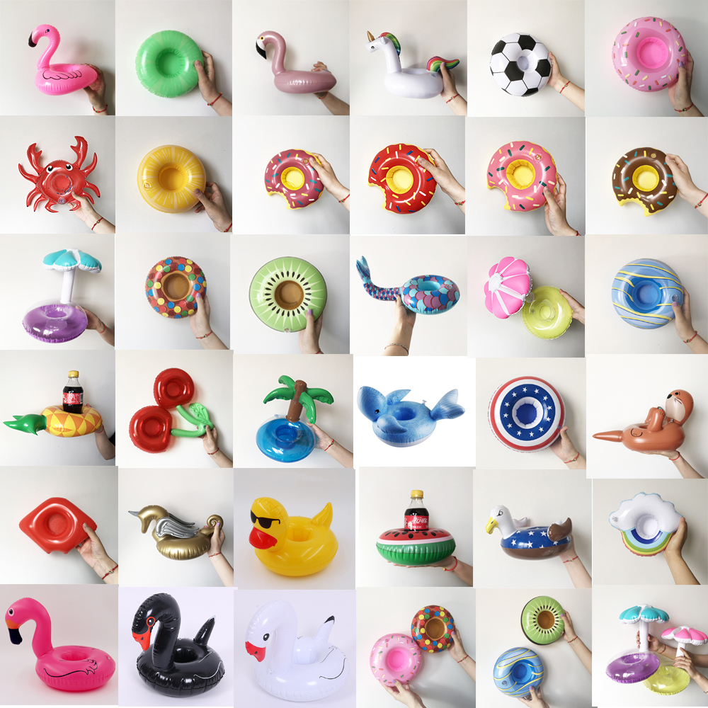 Mini Swan Fruit Animal Shape Inflatable Water Swimming Pool Drink Cup Stand Holder Float Toy Coasters For  Beverage Beer Bottle