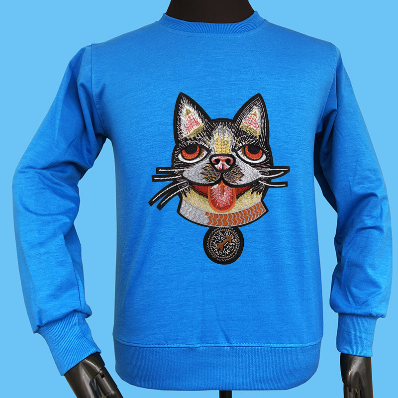 Seestern brand autumn winter new style applique embroidery Boston Terrier 25 blind love Cupid arrow casual men dog hoodies tops