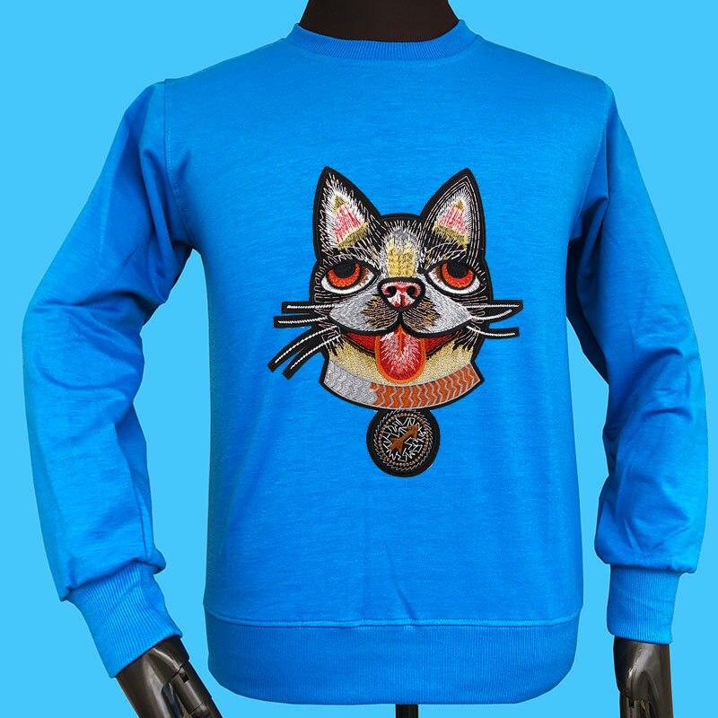 Seestern marque automne hiver nouveau style applique broderie Boston Terrier 25 aveugle amour cupidon flèche décontracté hommes chien hoodies hauts