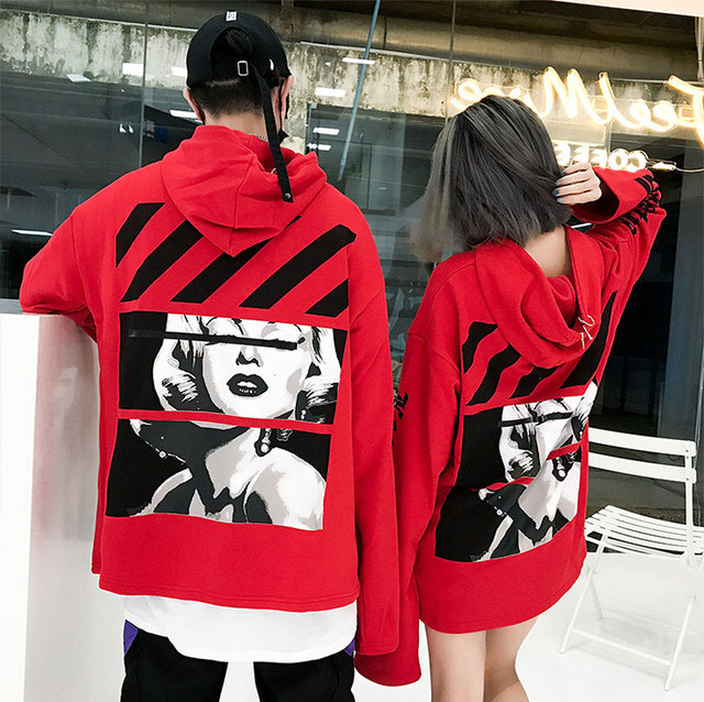 autumn and winter 2018 New China red Hip Hop Loose Hoodie for Men and Women oversize Cotton Solid color Couple Long Sleeves Top
