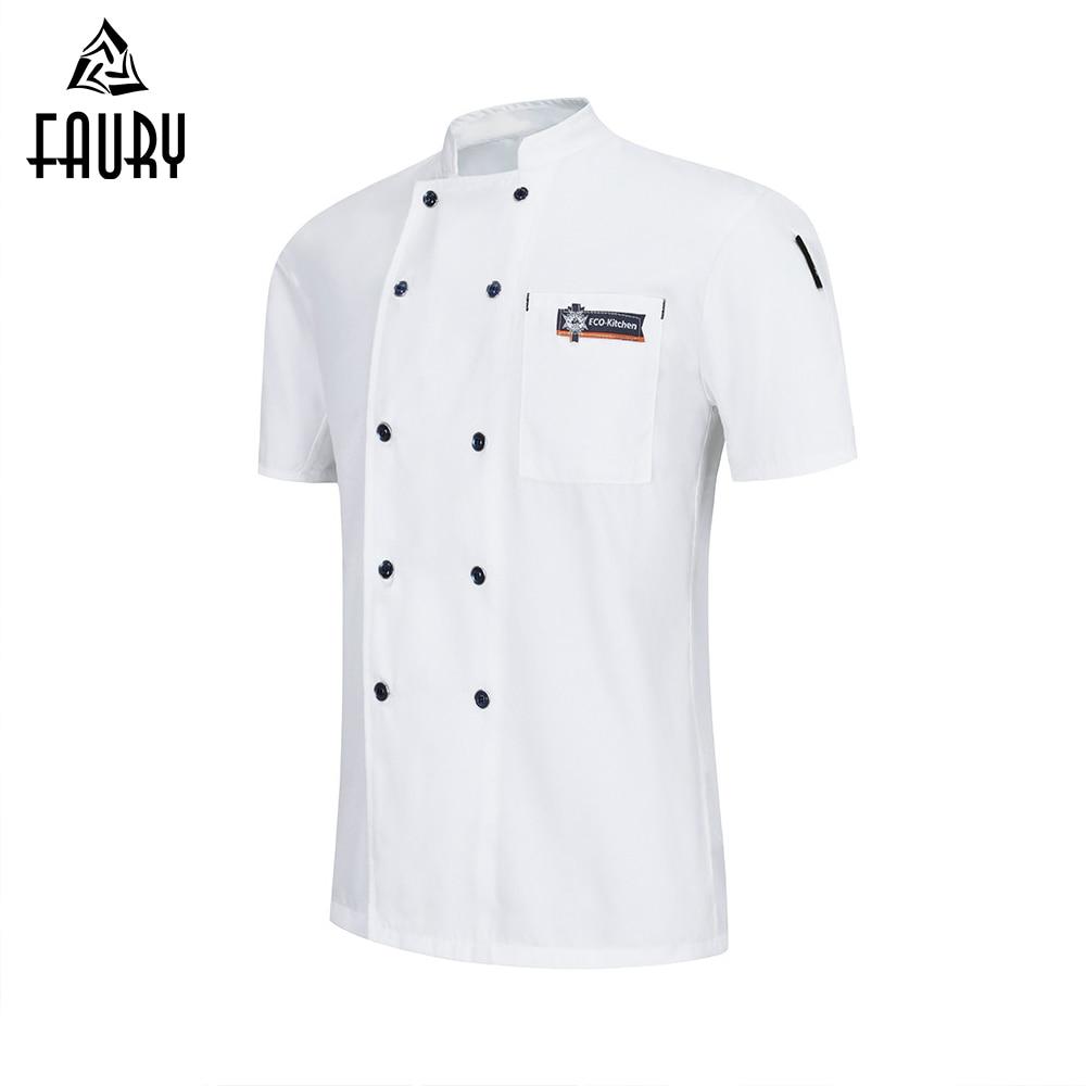 Chef Jacket Waiter Waitress Short Sleeve Cook Shirt Unisex Kitchen Restaurant Uniform Barbers Dessert Shop Hotel Work Clothes