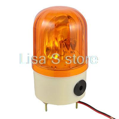DC 24V 10W Industrial Yellow Rotary Light Warning Lamp w Buzzer Siren LTE-1101J dmwd ac220v wired flash strobe blinking siren sound industrial warning light with alarm lte 1101j indicator light