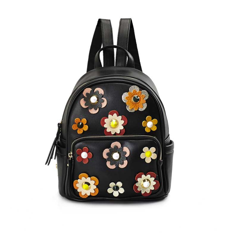 Small Women s Backpack 2017 New High Quality Fashion PU Leather Backpack Printing Flowers Travel Bag
