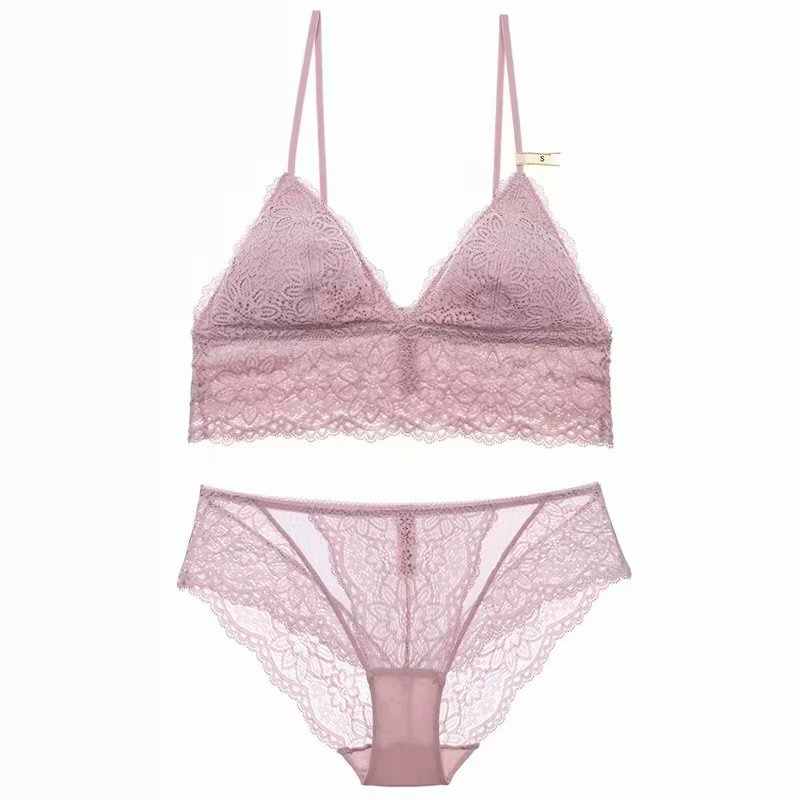 2c23fc0599 French Sexy Women Underwear Fashion Lace Lingerie New Wireless Bralette  Ultrathin Triangle Cup Plunge V Casual