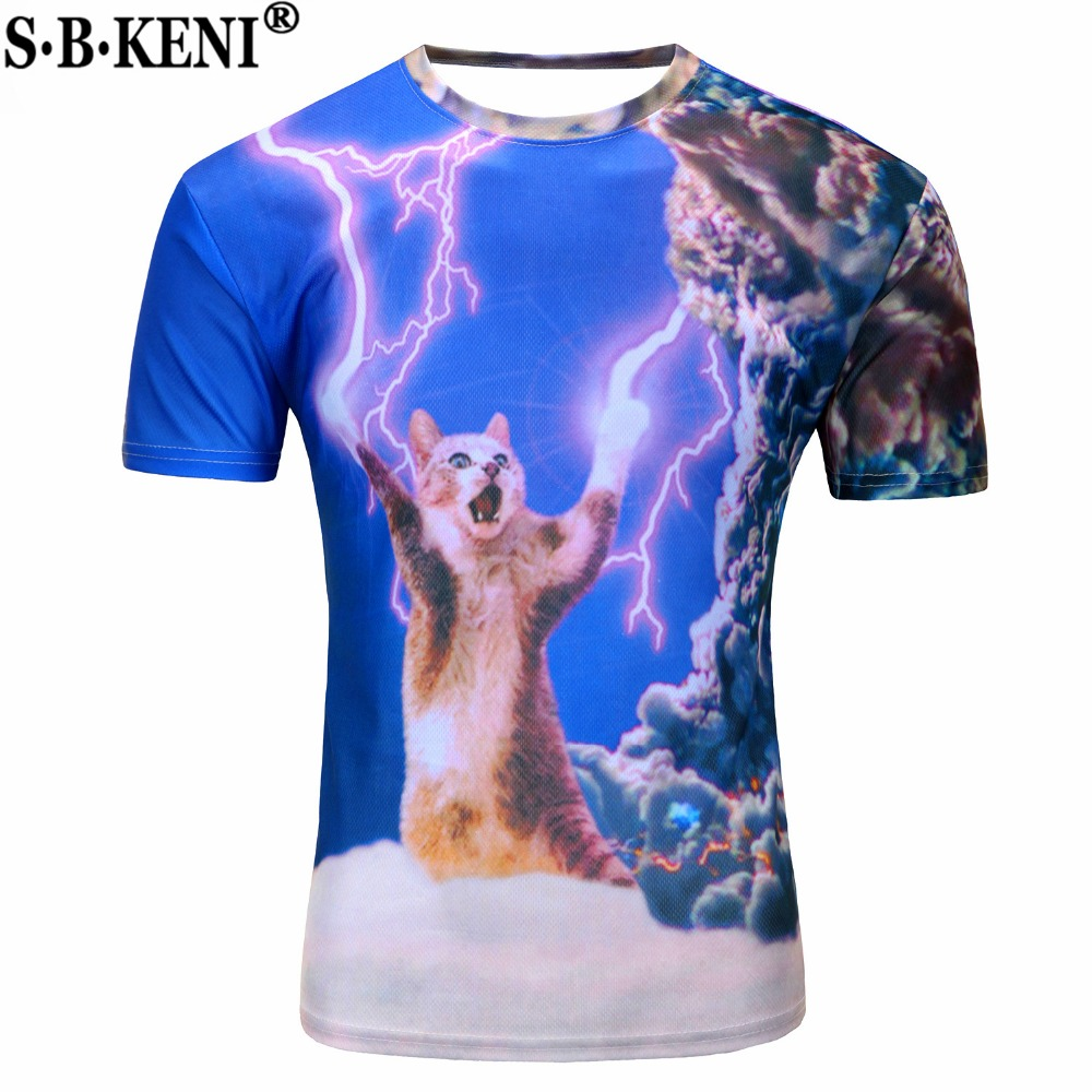 Anime Shirt Men Clothes 2018 Three-Dimensional Clothing Printed 3D Fearless T-Shirt Kitty Cat Playing With Lightning T Shirts(China)