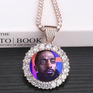 Image 4 - Medallones de memoria personalizados para fotos, COLLAR COLGANTE macizo con cadena de tenis, joyería de Hip Hop, cadena de circonia cúbica personalizada, regalo