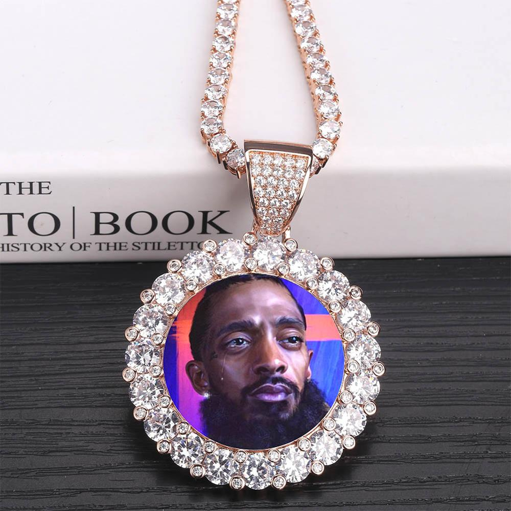New Custom Photo Memory Medallions Solid Pendant Necklace With Tennis Chain Hip Hop Jewelry Personalized Cubic Zircon ChainsGift