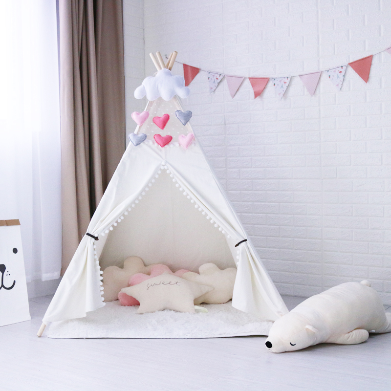 4-Pole White Canvas Pom Pom Kids Teepee Tent,Childrens Teepee,Play Tent,Kids Tipi Tent,Tepee Tent,Kids Tee Pee,Wigwam for Kids pink clouds teepee tent indoor childrens play tipi