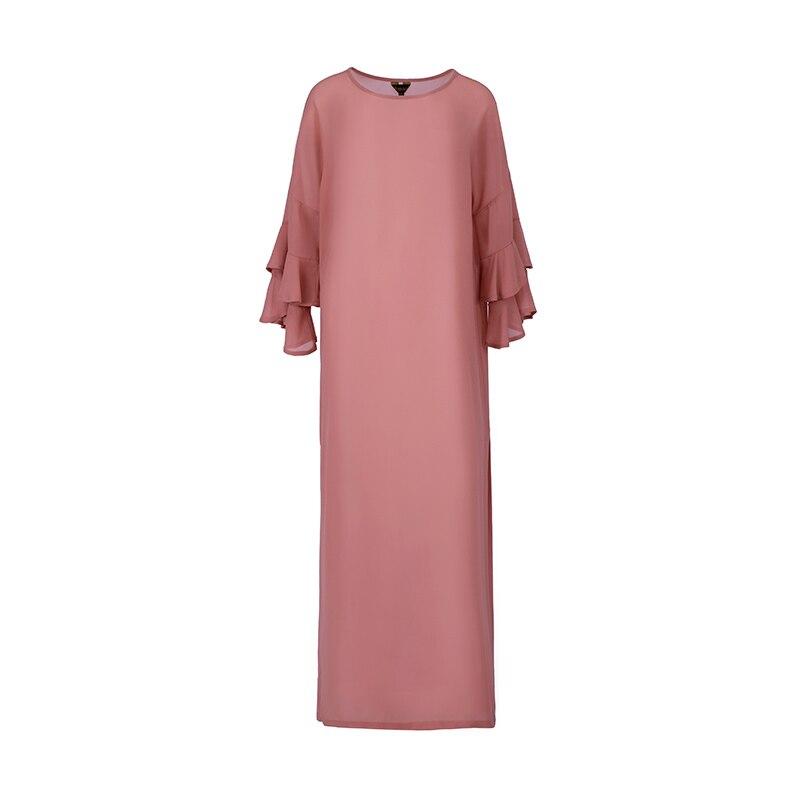 VERRAGEE femmes nouveau été 2019 rétro-parole longueur rose longue robe douce style robe en mousseline de soie