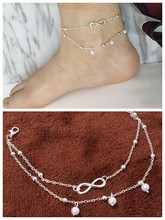 Popular Summer Gold/silver Layered Chain Charm Anklets for Feminine Ankle Bracelets Starfish Bracelet(China)