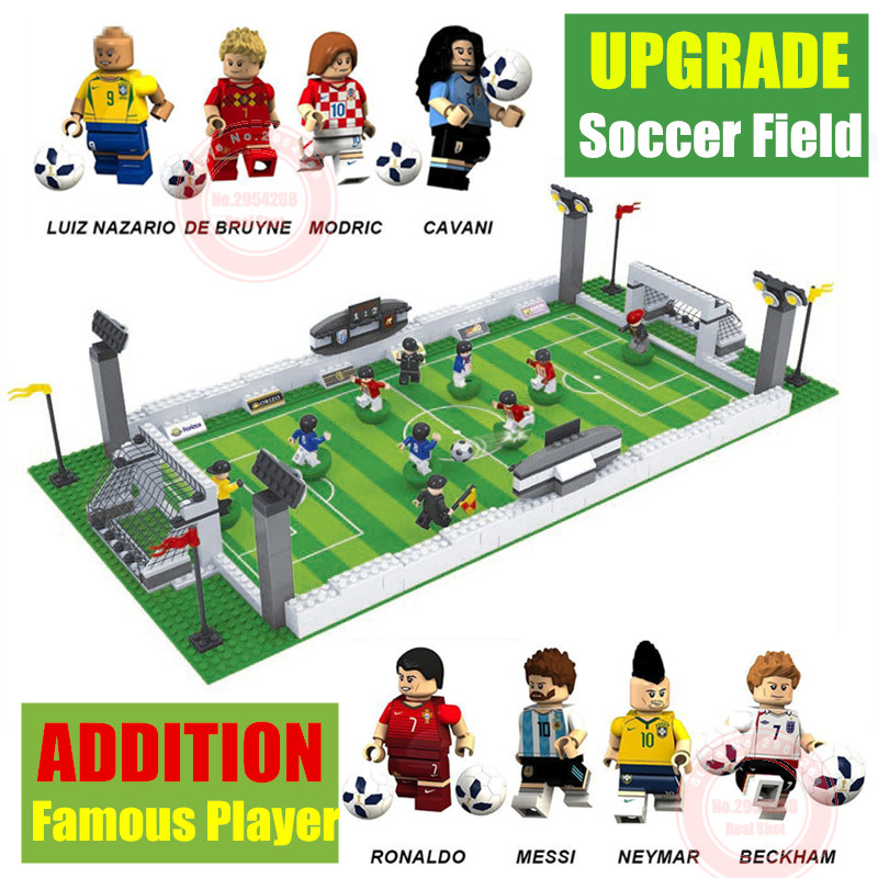 New Soccer Field world team player fit legoings football figures city Model Building Bricks Blocks diy Toys gift kid winning cup