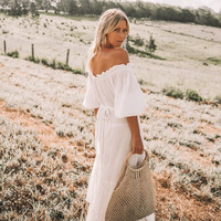 Off Shoulder White Sexy Loose Pleated Ruffle Boho Dress Maxi Dress Casual Summer Beach Dresses Plus Size Fashion Vestidos Robe