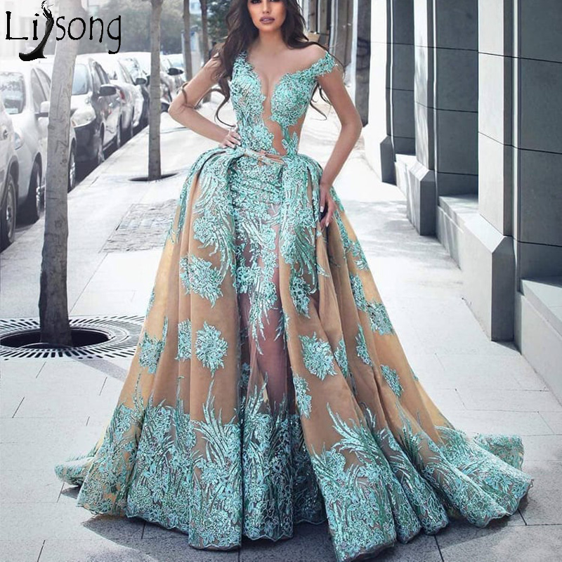 Haute Couture Overskirt Mermaid   Prom     Dresses   Illusion Neckline Detachable Train Lace Appliques Long Evening   Dress   Robe de soiree
