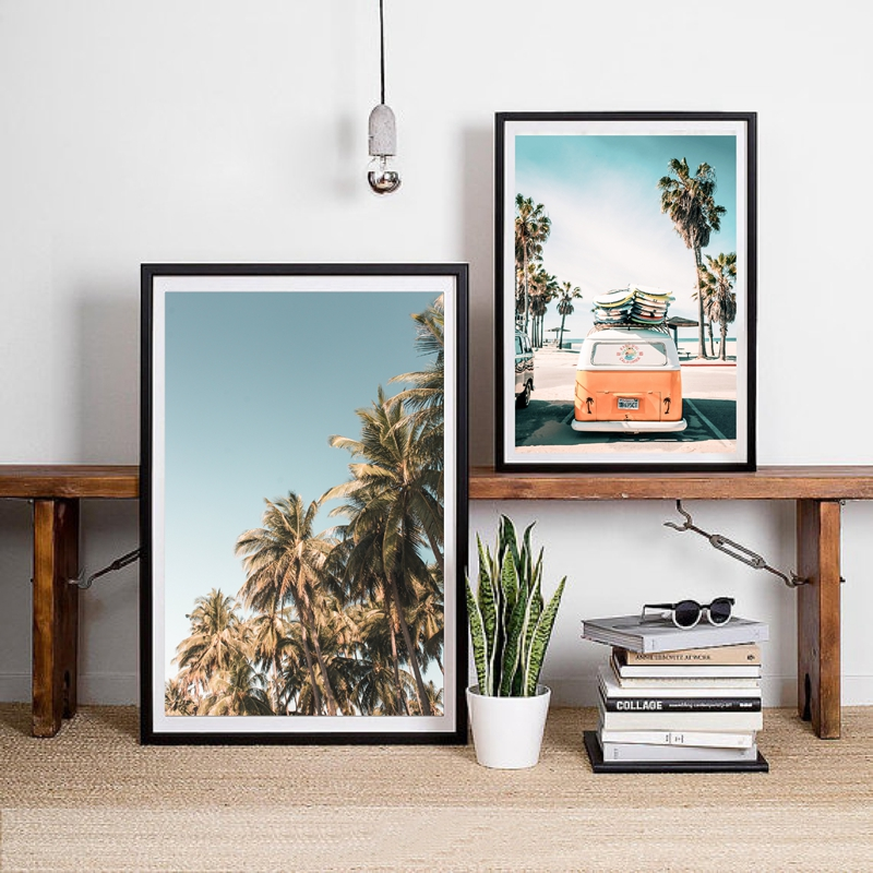 Palm Trees Print Beach Wall Art Summer Tropical Decor , VW BUS Surfer Van Canvas Painting Wall Picture Coastal Art Home Decor
