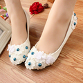 White soft outsole Bridesmaid Low-Heeled Shoes Handmade plate buttons accessories Wedding Shoes Flat medium hells Shoes Party