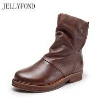JELLYFOND Marca Genuína Mulheres De Couro Artesanal Estilo Cowboy Ocidental Botas Curtas Ankle Boots Do Vintage Sapatos De Grife Mulher