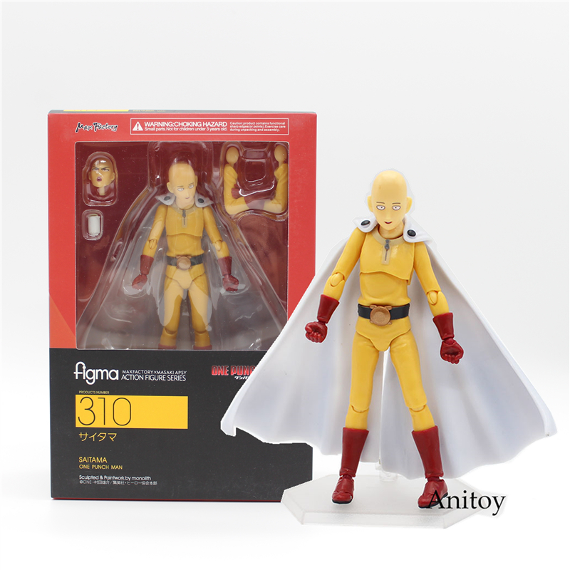 Anime ONE PUNCH MAN Saitama Sensei Face Can Change Figma #310 PVC Action Figure Model Toys 15cm KT3733