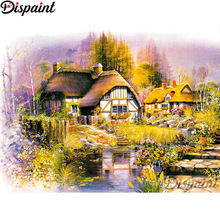 Dispaint Full Square/Round Drill 5D DIY Diamond Painting House flower Embroidery Cross Stitch 3D Home Decor A11179