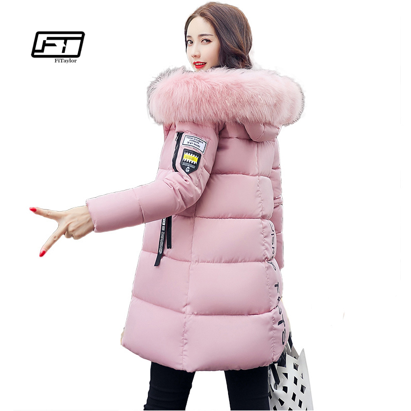 Fitaylor Winter Jacket Women 2017 Long Thicken Warm Cotton Coats Padded Down Parkas Coat Faux Fur Collar Hooded Jacket Overcoat women s thick warm long winter jacket women parkas 2017 faux fur collar hooded cotton padded coat female cotton coats pw1038