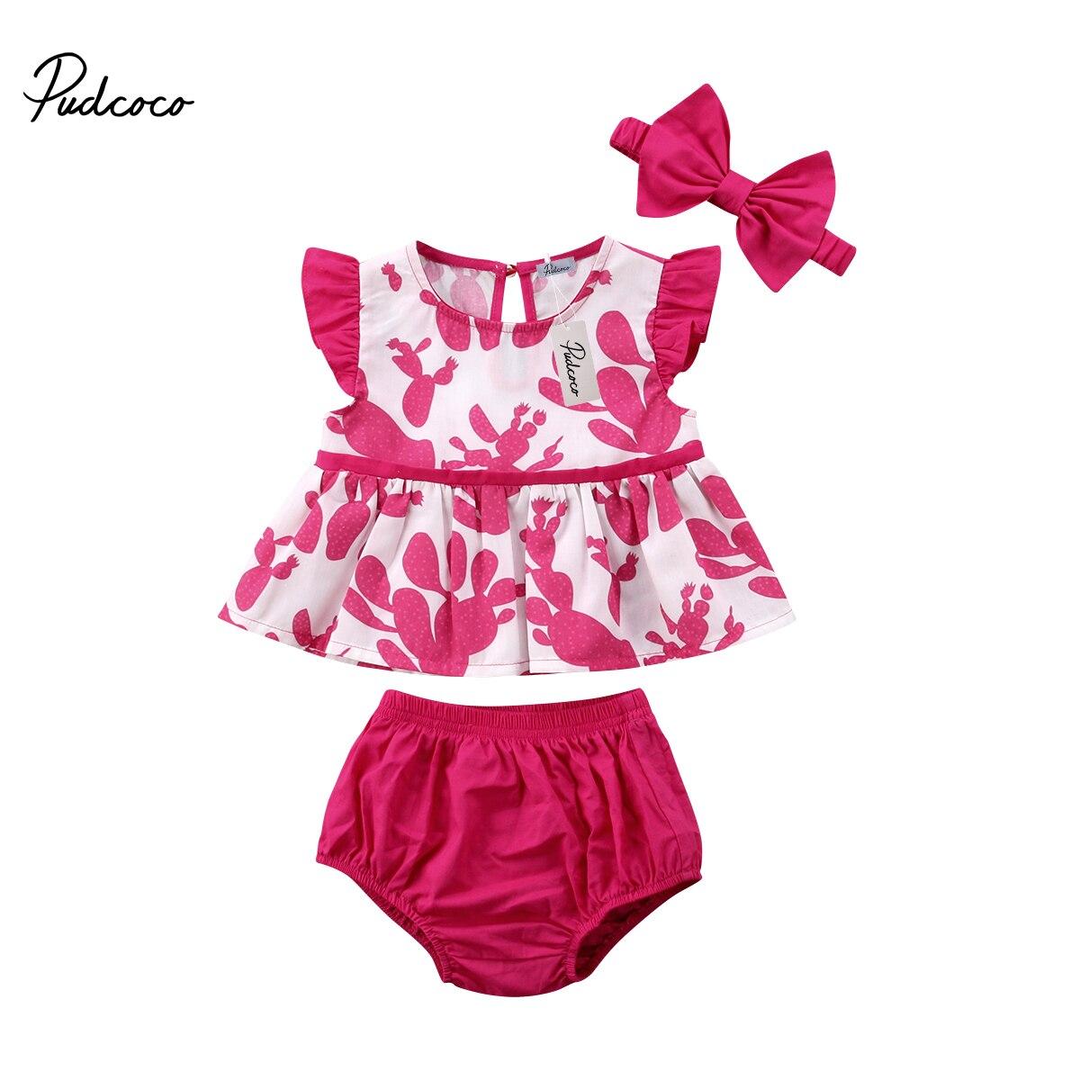 Newborn Baby Girl Clothes Sleeveless Cactus Print Tops Shorts Pants Handband Outfits Summer Infant Clothing 3pcs