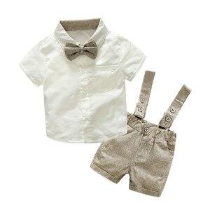 Zestaw ubranek dla chłopca w stylu letnim noworodek odzież 2 szt. t-shirt z krótkim rękawem + szelki elegancki garnitur