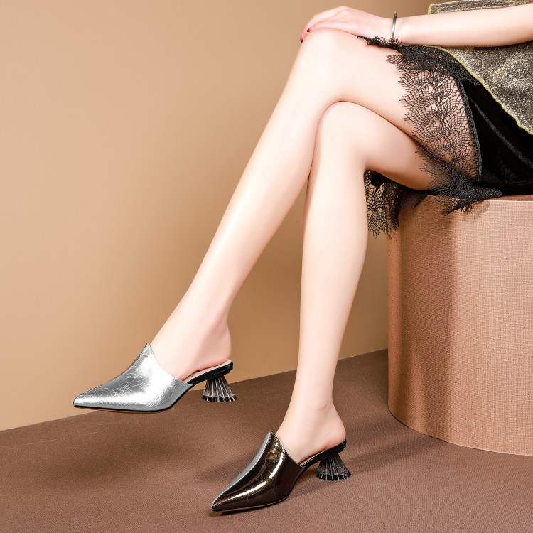 Mljuese 2019 여성 슬리퍼 암소 가죽 로마 스타일 이상한 발 뒤꿈치 지적 발가락 혼합 색상 해변 샌들 파티 드레스 크기 34 42-에서슬리퍼부터 신발 의  그룹 1