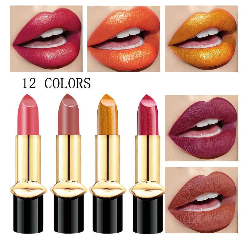 12 colori Della Sirena metallico Brillare Shimmer Opaco rossetto Impermeabile Lip Blam Non-Stick Tazza d'oro Trucco Nude Lip Tint TSLM1