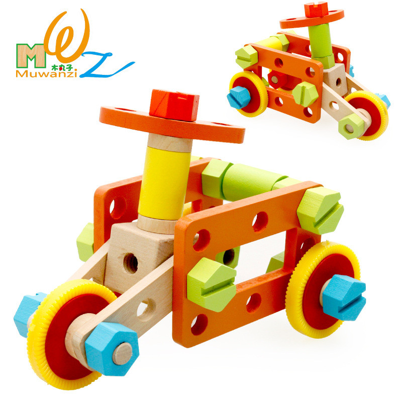 Color Wooden Assembled Building Blocks Diy Screw Nut