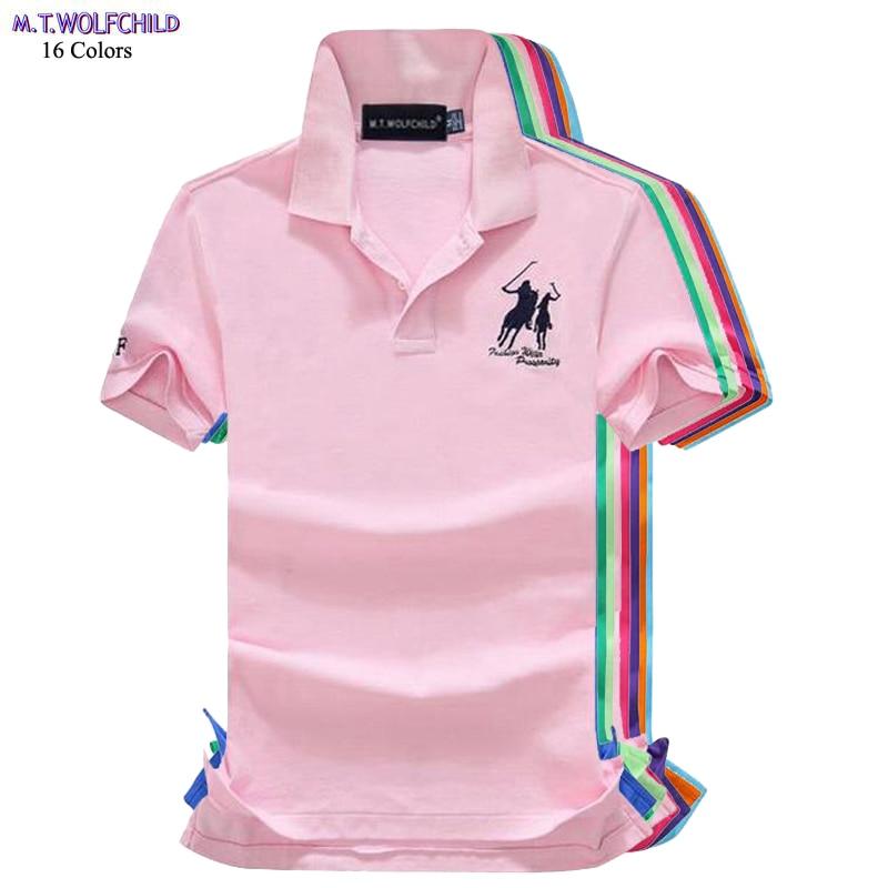 Good quality 2018 Summer Mens short sleeve horse   polos   shirts casual mens cotton lapel   polos   shirts fashion mens slim tops S-2XL