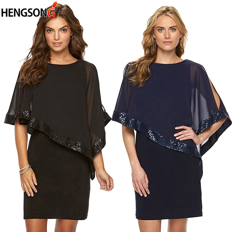 HENGSONG Fashion Sequin Lace Splice Summer Dress 2018 Cloak Sleeve O Neck High Waist Bodycon Casual Dress Sexy Party Dress