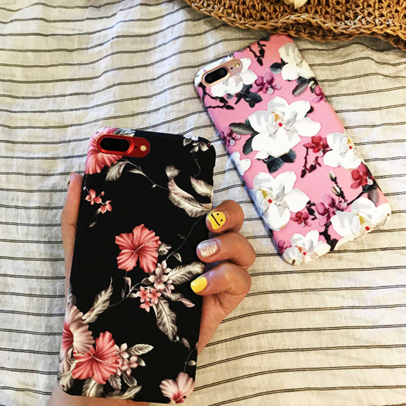 Luxury Hard PC Case For iPhone X 7 6 6S 8 Plus Ten 10 Vintage Flowers Patterned Cover Back Phone Cases For iPhone 7 6 S Conque
