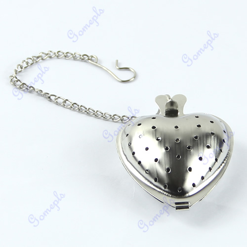 E74 5pcs/lot Heart Shape Stainless Steel Infuser Filter Strainer Tea Spice Ball Spoon wholesale/retail