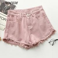 Ripped frayed Edge denim shorts women high waist short jeans feminino pockets black white shorts jeans 2017 summer short femme