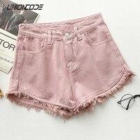 Ripped Frayed Edge Denim Shorts Women High Waist Short Jeans Feminino Pockets Black White Shorts Jeans