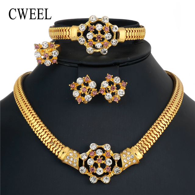 CWEEL Jewelry Sets Women Indian African Jewelry Set Plant Party Cheap Wedding Je