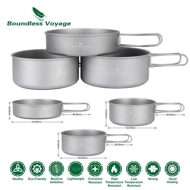 La casserole en titane de Voyage sans bornes définit la marmite de Camping en plein air avec la Ti1575B-Ti1577B de batterie de cuisine Potable de pique-nique de poignée pliante