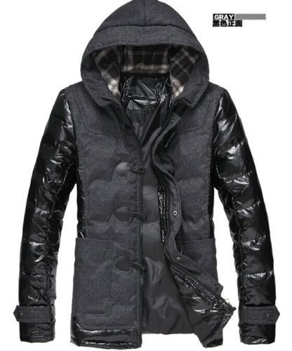 New Men's Fashion Hooded Padded Jacket Thick Cotton Winter Warm Coat Windbreaker Black Color Horn Button