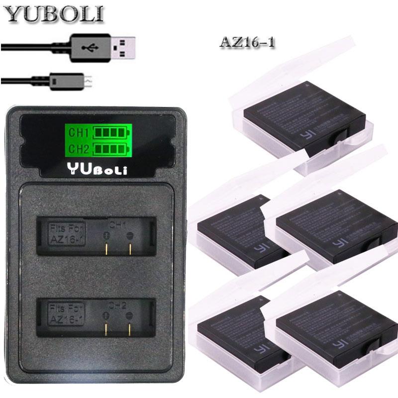 Cámaras Acción Baterías y cargador Kit Para Lcd Doble Puerto Xiaomi Yi Lite 4K 4K