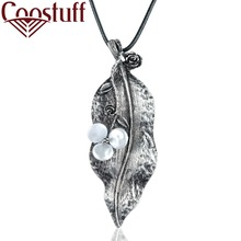 New Arrival Wholesale Long Necklace Women Plant Jewelry Vintage Grey Leaf Pendant women collares mujer choker kolye bijoux femme