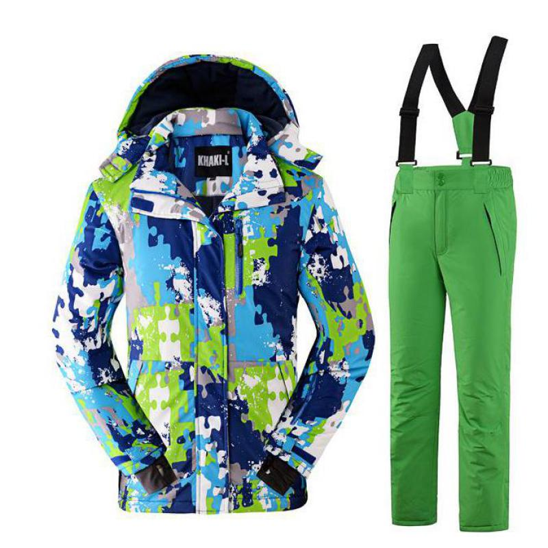ФОТО 2017 Winter Boy Kids Ski And Snowboarding Suits Windproof Waterproof Thicken Children Outdoor Sports Jacket+pant 110-160cm